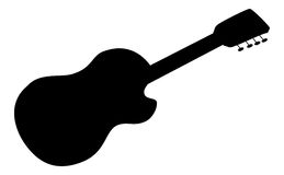 Acoustic guitar, silhouette Royalty Free Stock Photography