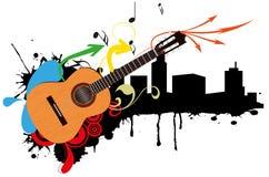 Acoustic guitar skyline Stock Photo