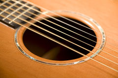 Acoustic guitar sound hole Royalty Free Stock Photography