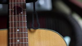 Acoustic Guitar Sound Hole and Pick stock footage