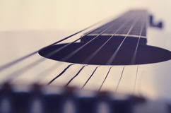 Acoustic guitar strings background. Low angle shot. Cut out Stock Photo