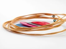 Acoustic guitar strings and plectrums Royalty Free Stock Photography