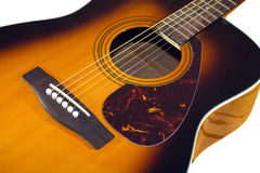 Acoustic guitar top with six strings isolated closeup Stock Image