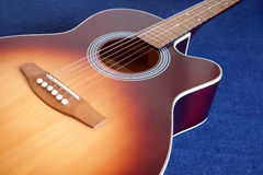 Acoustic guitar top with six strings isolated closeup Royalty Free Stock Photography