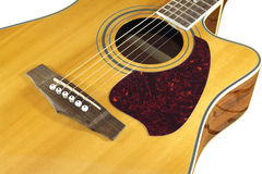 Acoustic Guitar Top With Six Strings Isolated Clos Stock Image