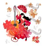 Acoustic guitar, treble clef, sheet music, beautiful Spanish girl, dressed in traditional red dress and with fan in her hand,