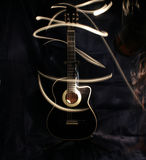 Acoustic guitar under high exposure light Stock Image