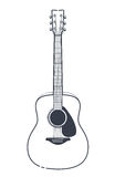 Acoustic Guitar Vector. Outline style guitar art Stock Photography