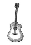 Acoustic guitar. Vintage vector black engraving illustration Stock Photography