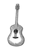 Acoustic guitar. Vintage vector black engraving illustration Stock Photo