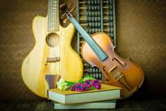 Acoustic guitar and violin Stock Photography