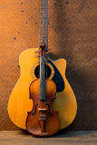 Acoustic guitar and violin Royalty Free Stock Photos