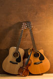 Acoustic guitar and violin Royalty Free Stock Image