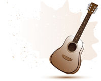 Acoustic guitar in water color style Royalty Free Stock Photo