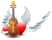 Acoustic guitar with winged heart and silver ribbon. Illustration of Acoustic guitar with winged heart and silver ribbon Stock Image