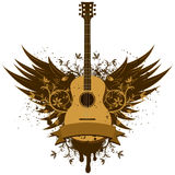 Acoustic guitar wings. An acoustic guitar between a set of wings Royalty Free Stock Photography