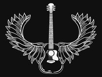 Acoustic guitar with wings. Stylized coustic guitar with angel wings. Black and white illustration of a musical. Instrument. Rock concert. Musical emblem Royalty Free Stock Photography