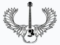 Acoustic guitar with wings. Stylized coustic guitar with angel wings. Black and white illustration of a musical. Instrument. Rock concert. Musical emblem Stock Images