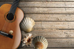 Acoustic Guitar on Wooden Boardwalk Stock Photos