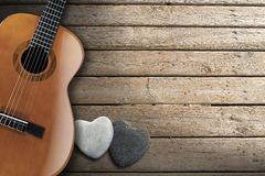 Acoustic Guitar on Wooden Boardwalk Royalty Free Stock Photography