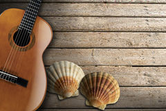 Acoustic Guitar on Wooden Boardwalk Stock Photography