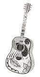 Acoustic guitar. Zentangle stylized Royalty Free Stock Images