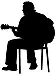 Acoustic guitarist. Vector drawing of a man with an acoustic guitar Stock Image