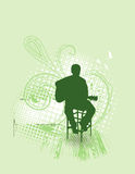 Acoustic Guitarist Green. Silhouette of person playing guitar. Separated elements Stock Photos