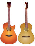 Acoustic guitars. Vector isolated image of acoustic guitars on white background Stock Image