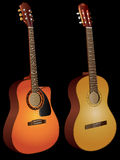 Acoustic guitars. Vector isolated image of acoustic guitars on black background Royalty Free Stock Images