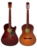 Acoustic guitars. Vector isolated image of acoustic guitars on white background Royalty Free Stock Photo