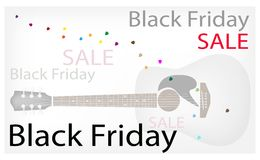 Acoustic Guitars Background of for Black Friday Sale Royalty Free Stock Photography