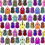 Acoustic Guitars colorful. Seamless texture Royalty Free Stock Photography