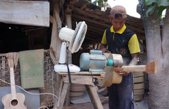 Acoustic guitars. Craftsmen are making acoustic guitars in Sukoharjo, Central Java, Indonesia Royalty Free Stock Photography