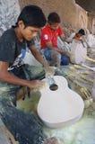 Acoustic guitars. Craftsmen are making acoustic guitars in Sukoharjo, Central Java, Indonesia Stock Image