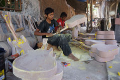 Acoustic guitars. Craftsmen are making acoustic guitars in Sukoharjo, Central Java, Indonesia Royalty Free Stock Images