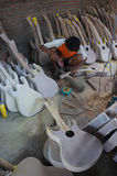 Acoustic guitars. Craftsmen are making acoustic guitars in Sukoharjo, Central Java, Indonesia Royalty Free Stock Photos