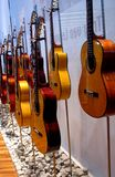 Acoustic Guitars. Display of acoustic guitars at an exhibition Stock Photo