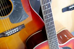 Acoustic Guitars on Display at Store Royalty Free Stock Photography