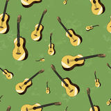Acoustic guitars on grunge background seamless Royalty Free Stock Photography