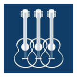 Acoustic guitars silhouettes Stock Image
