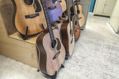 Acoustic guitars in a standard royalty free stock images