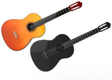 Acoustic guitars - wood and black. Isolated on white background Royalty Free Stock Photo