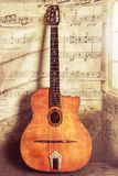 Acoustic Gypsy Jazz Guitar Vintage and Aged  with Wear and Music Notes