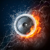 Acoustic Loudspeaker. Loudspeaker on Fire and Water Isolated on Black Background. 2D graphics, computer designe Royalty Free Stock Images