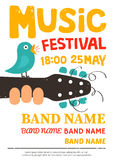 Acoustic music festival poster, flyer with a bird singing on a guitar Royalty Free Stock Photo