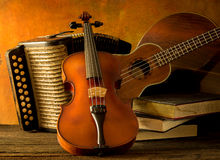 Acoustic musical instruments guitar ukulele violin Stock Images