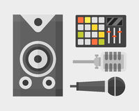 Acoustic musical speaker audio equipment musical technology and loudspeaker tool stereo vector illustration. Stock Photo