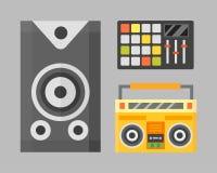 Acoustic musical speaker audio equipment musical technology and loudspeaker tool vector illustration. Stock Photography