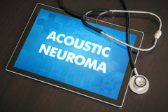 Acoustic neuroma (neurological disorder) diagnosis medical concept on tablet screen with stethoscope.  stock images